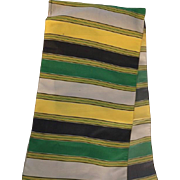 Vintage: Roman Stripped Silk Scarf: Purchased in Rome 1962: Green, Yellow: Grey: 48 inches
