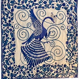 Vintage: Cotton scarf: stylized peacock or phoenix: 36 x 36 inches: royal blue