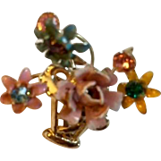 Vintage: Pin: Golden basket: Enameled flowers on gold stems: Colored rhinestones centers