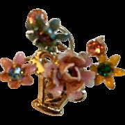 Vintage: Pin: Golden basket: Enameled flowers on gold stems: Colored rhinestones centers