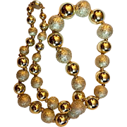 Vintage: Two kinds of bright golden beads necklace: 22 inches