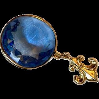 Vintage: pin / pendant: Sky Blue faceted  lucite bobble: Fleur de lie: