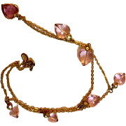 Vintage :Goldtone 24 inches: six pink hearts: one rose gold trimmed heart: