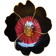 Vintage: Enameled large pansy pin: Black edges: red center: and yellow center.  Very shiny: excellent condition: 2 inches x 1.5 inches