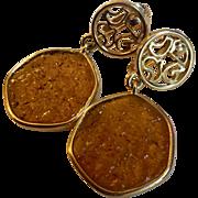 """Vintage Sarah Coventry lucite """"Taste of Honey"""" clip earrings: amber:"""