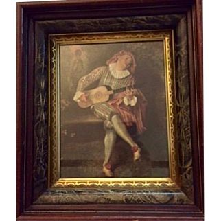 REDUCED: Vintage canvas print: Mezzetin: Watteau: 1684-1721: Eastlake frame: gilted and marbled: giclee print