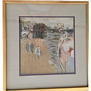 Vintage Watercolor: Shore scene: impressionist style: soft colors: gold frame: double mat
