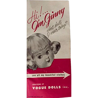 vintage Ginny Doll booklet: all the Ginny clothes: vogue dolls: 1955