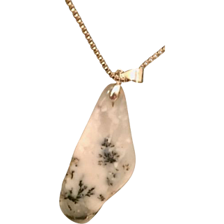 Artisan necklace: white and black crazy lace agate pendant:  box silver chain;