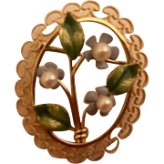 Vintage Kementz :14K gold filled pearl enameled flowered pin: from 60s