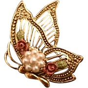 Vintage: Golden side view jeweled butterfly pin: 70s- 80s: Pearls Enameled Roses