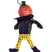 Vintage Original Pumpkin head doll/ornament: 1990s: paper mache: felt: 7 inches