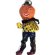 Vintage Original Pumpkin head doll/ornament: 1990s: papier mache: felt: 7 inches