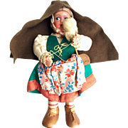 Portuguese Doll: Woman spinning: Vintage: 1950s: Handmade: handpainted face: leather shoes: drop spindle: vintage