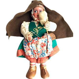 vintage: Portuguese Doll: Woman spinning: Vintage: 1950s: Handmade: handpainted face: leather shoes: drop spindle: