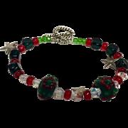 Christmas crystal bracelet: Artisan: Red Green White Clear: