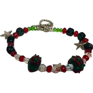 Christmas crystal bracelet: Artisan: Red Green White Clear: