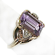 Amethyst Ring Diamond Chips Solid 10K Yellow Gold February Birthstone