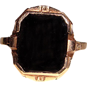 Antique Black Onyx Signet Ring 10K Yellow Gold Male Female