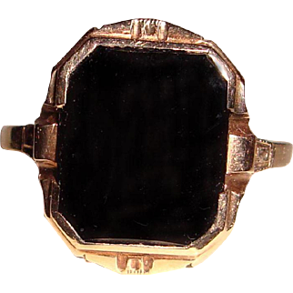Art Deco Black Onyx Signet Ring 10K Yellow Gold Male Female
