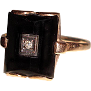 Art Deco 14K Black Onyx Ring Diamond Center