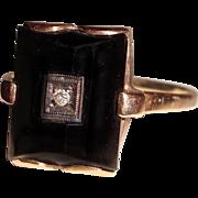 Beveled Black Onyx Ring Diamond Center 14K Yellow Gold