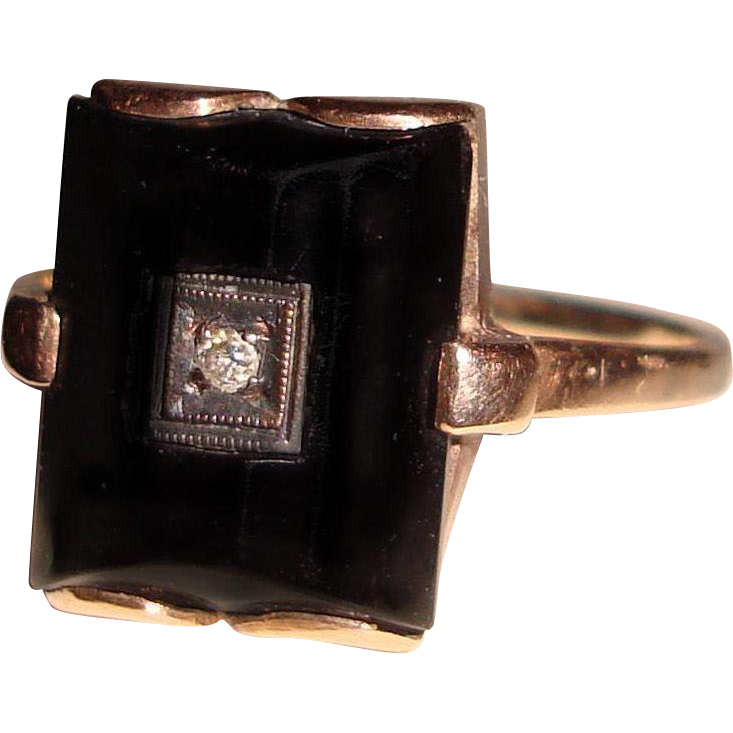 Art Deco 14K Black Onyx Ring Diamond Center