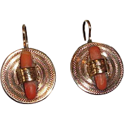 14K Victorian Earrings Salmon Coral Accent