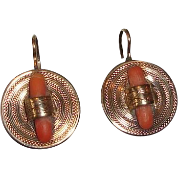 Victorian Earrings Salmon Coral Accent 14K Yellow Gold 1880s