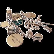 Heavy Vintage Sterling Charm Bracelet Vintage 925 Charms 30 grams