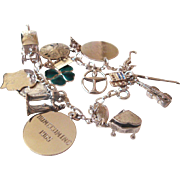 1960s Sterling Silver Charm Bracelet Loaded 30 grams