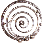 Sterling Modernist Spiral Brooch 925 Silver