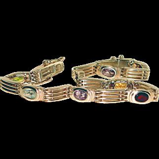 Sterling Silver Bracelet Multiple Gemstones