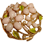 ART Brooch Pink Coral Glass Flowers Enamel