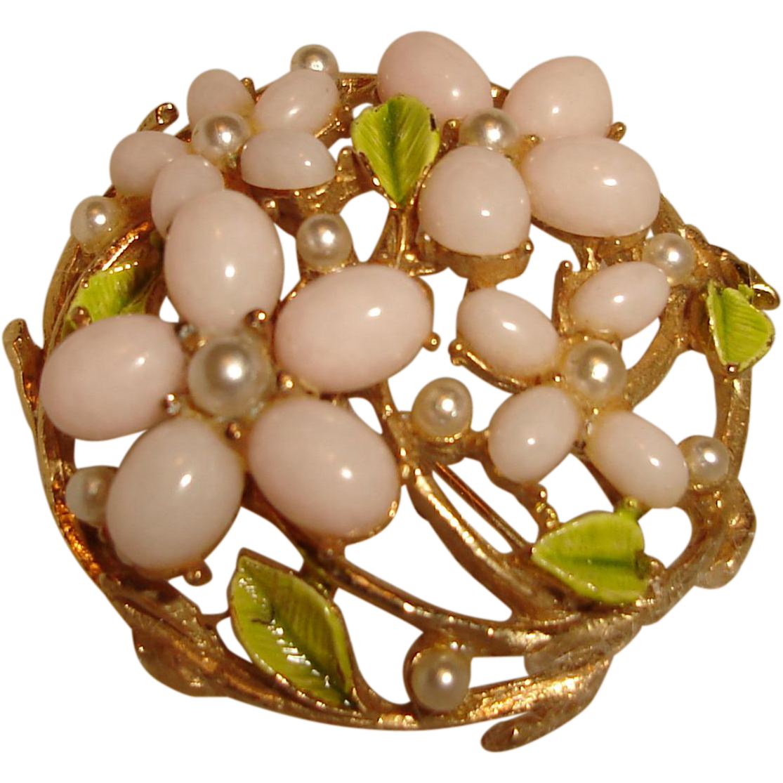 Flower Brooch Pink Coral Glass Green Enamel Leaves Signed ART