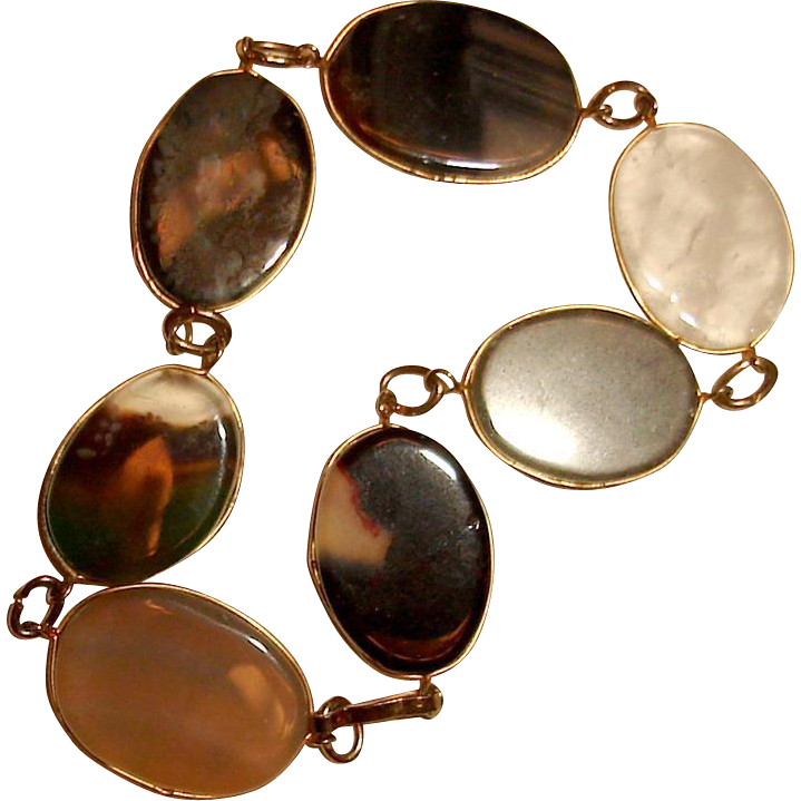 Agate Bracelet Gold Filled Fall Autumn Colors