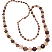 Amethyst Quartz and Rock Crystal Necklace 25 Inches