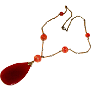Art Deco Necklace Carnelian Drop Banded Agates