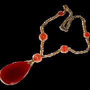 Art Nouveau Carnelian Banded Agates Necklace