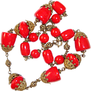 Art Deco Necklace Red Czech Glass Filigree Crown Bead Caps