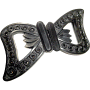 Jet Black Sash Buckle Closure Mourning