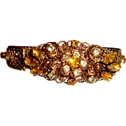 Art Nouveau Bangle Bracelet Yellow Topaz Paste Stones November
