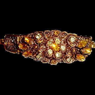 Antique Filigree Bangle Bracelet Signed Germany Fall Autumn Colors