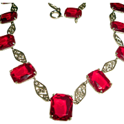 Red Collar Necklace with Fancy Silver Links