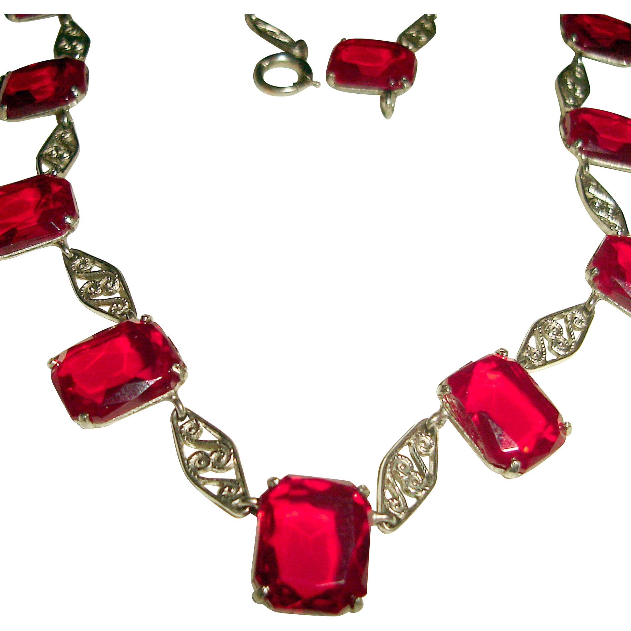 Art Deco Red Collar Necklace with Fancy Silver Links