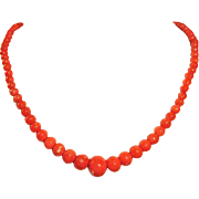 Antique Salmon Coral Beaded Necklace