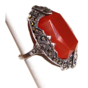 Art Deco Sterling Silver Ring Marcasites Orange Stone