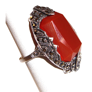 Art Deco Ring Sterling Silver Marcasites Orange Stone