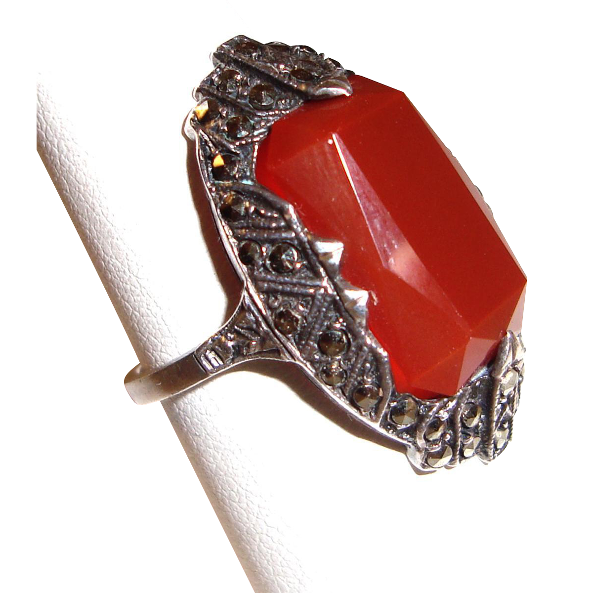 Art Deco Carnelian Ring Sterling Silver  Marcasites