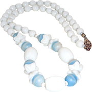Art Deco Molded Florets Czech Necklace Blue White Beads